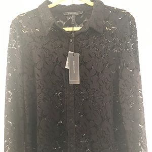 Gorgeous BCBG black lace button front